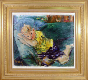 Dimitrie Berea, Young Boy in Yellow Shirt Reclining on Couch, Oil Painting