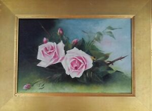 Red Roses Beautiful Victorian Still life Painting Mystery Artist Impressionist