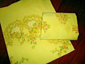 JCP PENNEY SUNNY YELLOW & ORANGE RIBBONS FLORAL (1PC) FULL FLAT SHEET 80 X 92