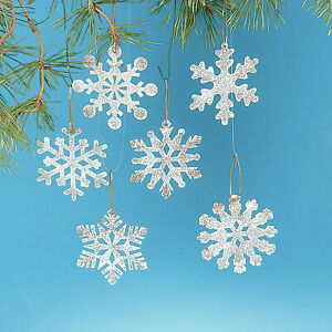 White Rustic Snowflake Christmas Ornaments - Home Decor - 12 Pieces