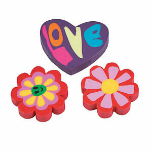 Valentine'S Day Hearts & Flowers Erasers - Stationery - 144 Pieces