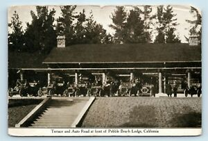 Pebble Beach Lodge, CA 1900s LINED CONVERTIBLES OLD CARS AUTO ROAD RARE PC