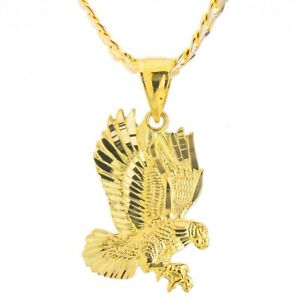 Solid 14k Gold Plated Fly Eagle Pendant 20 Chain Necklace MPG 253 G $11.99