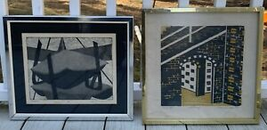 2 Vintage Abstract Lithograph Etching Print Signed R MORRONE Framed Modern AP