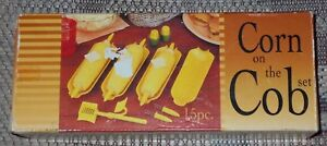 Vintage 15 Piece Corn On The Cob Serving Set  Molded Plastic Dinner Fun Rare