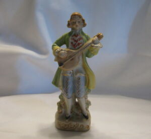 Vintage Porcelain Victorian Era Man Playing A String Instrument Figurine Japan