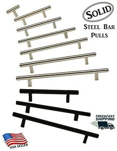 T Bar Pull Handles Modern Kitchen Bath Cabinet Hardware Brushed Nickel or Black