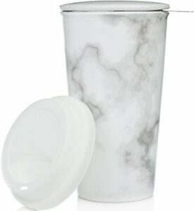 Ceramic Travel Mug with Lid Marble Double-Walled Tea Cup with Tea Infuser
