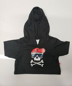 Build A Bear Black Skull Pirate Hoodie NWT