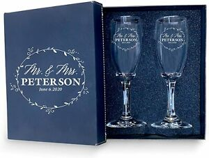 for Bride & Groom Flutes -Set of 2 Personalized Wedding Champagne Glass with box