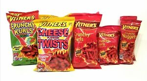 VITNER'S 10 Pack SIZZLIN HOT Crunchy Curls, Nuggets, & Puffs Variety Combo