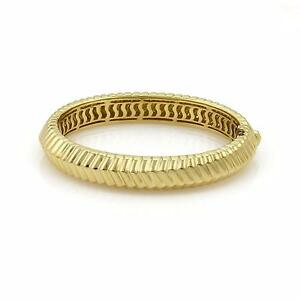 Tiffany & Co. Cordis 18k Yellow Gold Fancy Grooved Design Bangle Bracelet