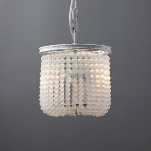 Retro 2-Light Frosted Crystal Bead Strand Pendant Light White Ceiling Fixture UL