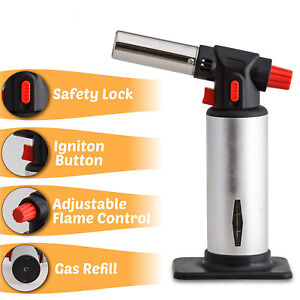 Cooking Torch Refillable Kitchen Butane Culinary Burner Baking BBQ Blowtorch