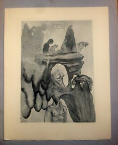 Dali Signed in Work Wood Block Lithograph Divine Comedy Hell Canto 23 $125.00