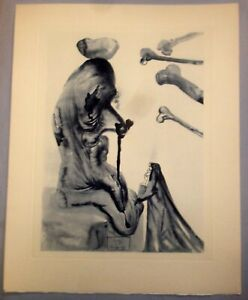 Dali Signed in Work Wood Block Lithograph Divine Comedy The Flatterers $125.00