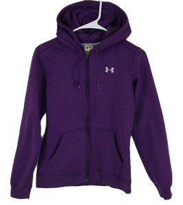 Under Armour Women's S Hoodie Full Zip Sweater Purple Hooded Drawstring Sz Small $18.95