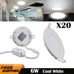 20X Epistar Recessed LED Ceiling Light Round Panel Down Spot Lamps 6W Cool White
