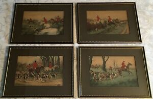 Antique 19th Century Hand Colored George Wright Prints Set Of Four $275.00