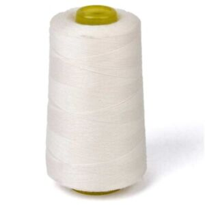6000 Yards Quality Overlocking Sewing Machine Polyester Thread Cones White $9.99