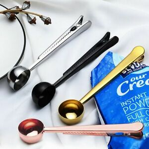 Coffee Scoop Measuring Stainless Steel Clip Sugar Sealing Bag Tea Kitchen New