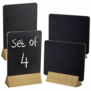 MyGift 8-Inch Dual-Sided Chalkboard Signs with Natural Wood Bases, Set of 4