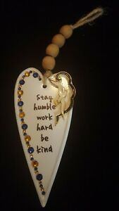 OOAK Hand Crafted Jeweled Hanging Metal Heart Wall Decor With Wooden Beads