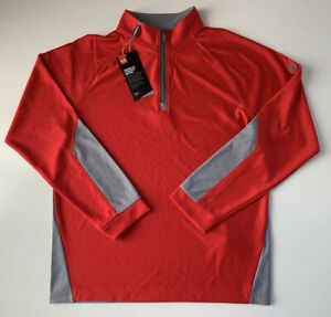 Under Armour Golf Boys 1 4 Zip Pullover Mock Neck Shirt UY7185 Red Gray L $24.00