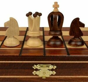 Wooden Chess Set Wood Board Hand Carved Crafted Pieces Made Folding Game Vintage $44.98