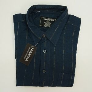 Thunder Mens Shirt Long Sleeve Button Front Shirt XL Blue Black Gray Stripe $14.99