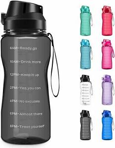 Motivational Water Bottle BPA Free 2.2L 64oz Jug with Straw and Time Tracker $17.99