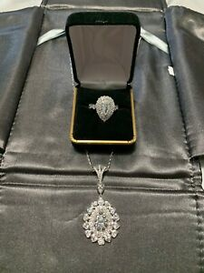 GIA Certified Fancy Blue Diamond Pendant And Ring Estate