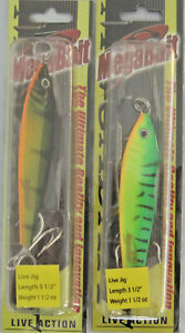 2 Mega-Bait Live Action Lures Fire Tiger & Perch 3 12 Inches 1.5 Ounces
