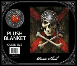Anne Stokes Pirate Skull Medium Weight Queen Blanket 79X94