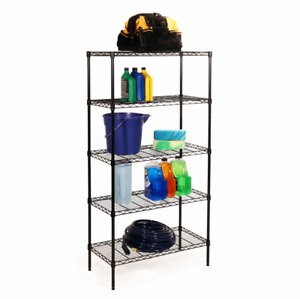 Seville Classics 5-Tier Black Epoxy Steel Wire Shelving, 30