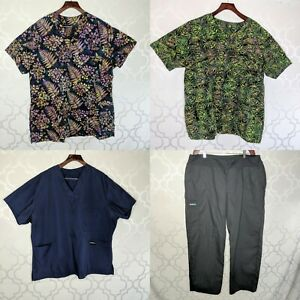 Scrubs Lot Of 4 ScrubMed Tops Bottom Pants Sz 14 16 18 20 22 24 Floral