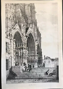 Amiens Cathedral Ca 1822 Lithograph Antique Print Prout 10 By 15 Image $48.00