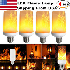 4x E27 LED Flicker Flame Light Bulb Simulated Burning Fire Effect Festival Party