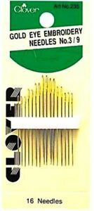 Clover Gold Eye Embroidery Needles Size 3 9 Easy Thread Sew Gold Reduce Static $6.99
