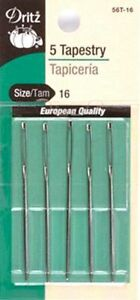 Dritz Tapestry Sewing Hand Needles Large Eye Blunt Point Size 16 5 Count D56T 16 $6.99