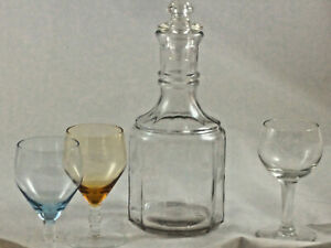Vintage Crystal Etched Clear Glass Decanter Set with Stopper W/ Glasses