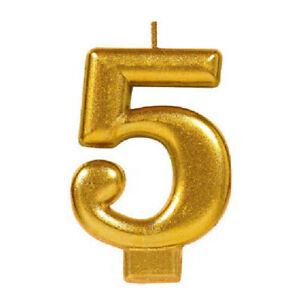 Glitter Gold # 5 Birthday Anniversary Candle Cake Decoration Party Supplies
