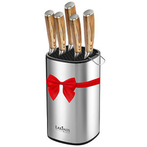 Universal Knife Block, Stainless Steel Round Knife Holder with Scissors-Slot,