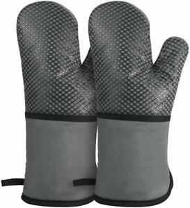Oven Mitts, Heat Resistant up to 500 Degrees Kitchen Gloves, Extra Long Sleeve