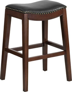 30'' High Backless Cappuccino Wood Barstool with Black LeatherSoft Saddle Seat