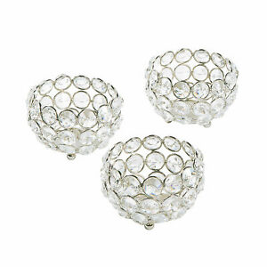Acrylic Crystal Bead Votive Candle Holders - Home Decor - 3 Pieces