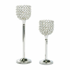 Acrylic Crystal Bead Pedestal Candle Holders - Home Decor - 2 Pieces