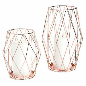 Rose Gold Candle Holder Set - Home Decor - 2 Pieces