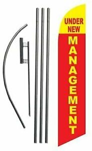 Under New Management Advertising Feather Banner Swooper Flag Sign with Flag... $49.99