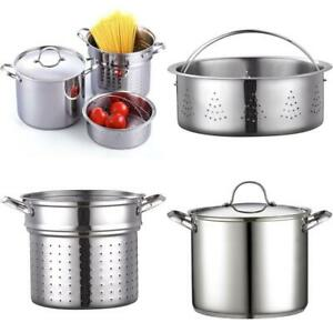 12 Quart Stock Pot Pasta Cooker With Strainer Stainless Steel Cookware 4 Pcs SET